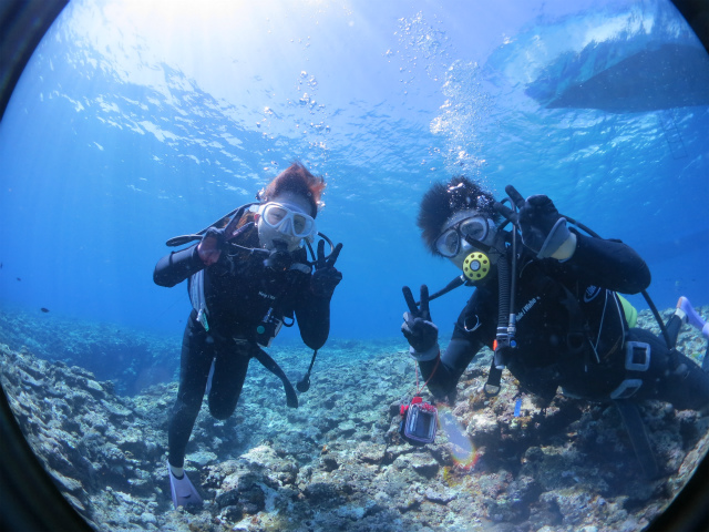 宮古島で初めてダイビングに挑戦した時の海中