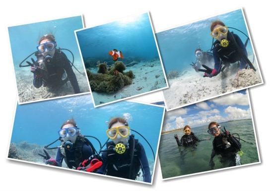 仲のよい友達と宮古島で挑戦したダイビング風景