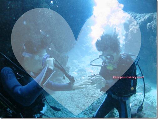 ダイビングで水中プロポーズ
