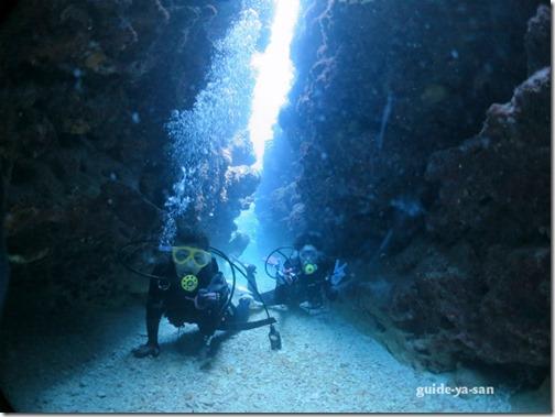 起伏の激しい海中地形を潜るボート体験ダイビング